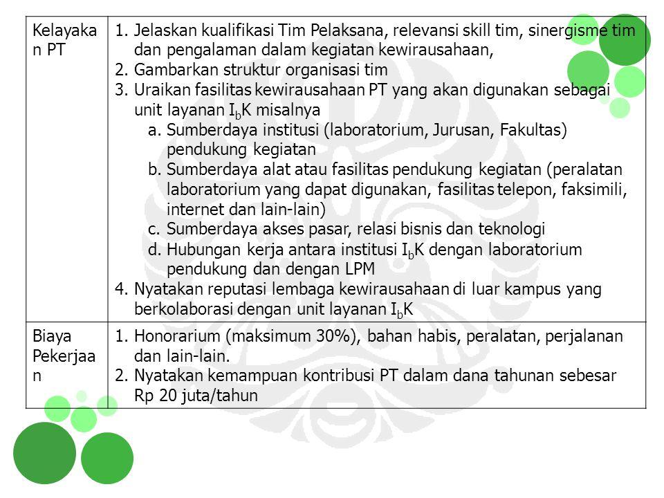 Kelayaka n PT 1.Jelaskan kualifikasi Tim Pelaksana, relevansi skill tim, sinergisme tim dan pengalaman dalam kegiatan kewirausahaan, 2.Gambarkan struk
