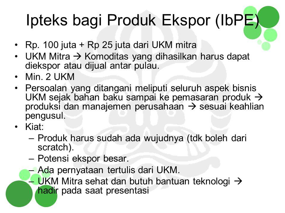 Ipteks bagi Produk Ekspor (IbPE) Rp. 100 juta + Rp 25 juta dari UKM mitra UKM Mitra  Komoditas yang dihasilkan harus dapat diekspor atau dijual antar
