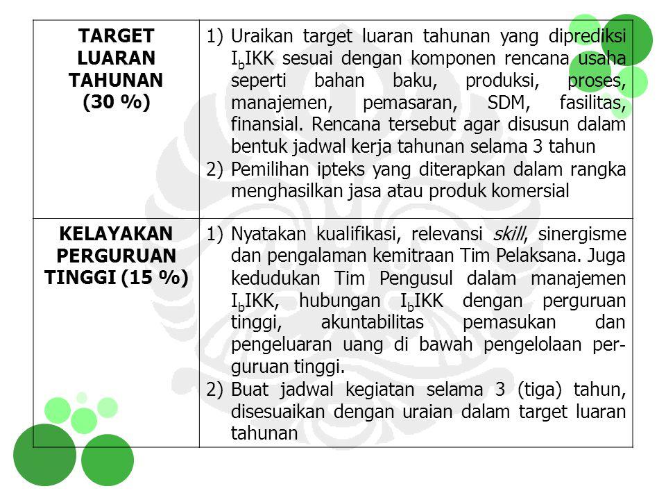 TARGET LUARAN TAHUNAN (30 %) 1)Uraikan target luaran tahunan yang diprediksi I b IKK sesuai dengan komponen rencana usaha seperti bahan baku, produksi