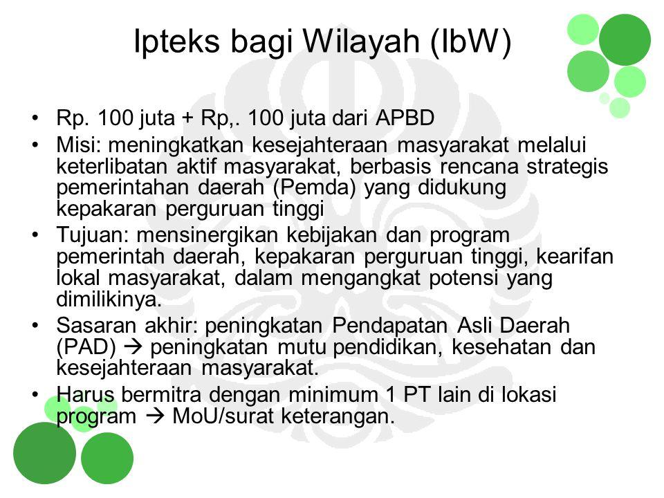 Ipteks bagi Wilayah (IbW) Rp. 100 juta + Rp,. 100 juta dari APBD Misi: meningkatkan kesejahteraan masyarakat melalui keterlibatan aktif masyarakat, be