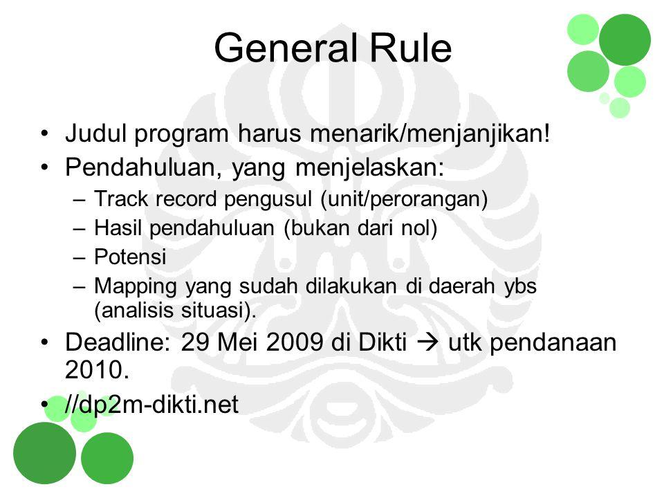 General Rule Judul program harus menarik/menjanjikan! Pendahuluan, yang menjelaskan: –Track record pengusul (unit/perorangan) –Hasil pendahuluan (buka