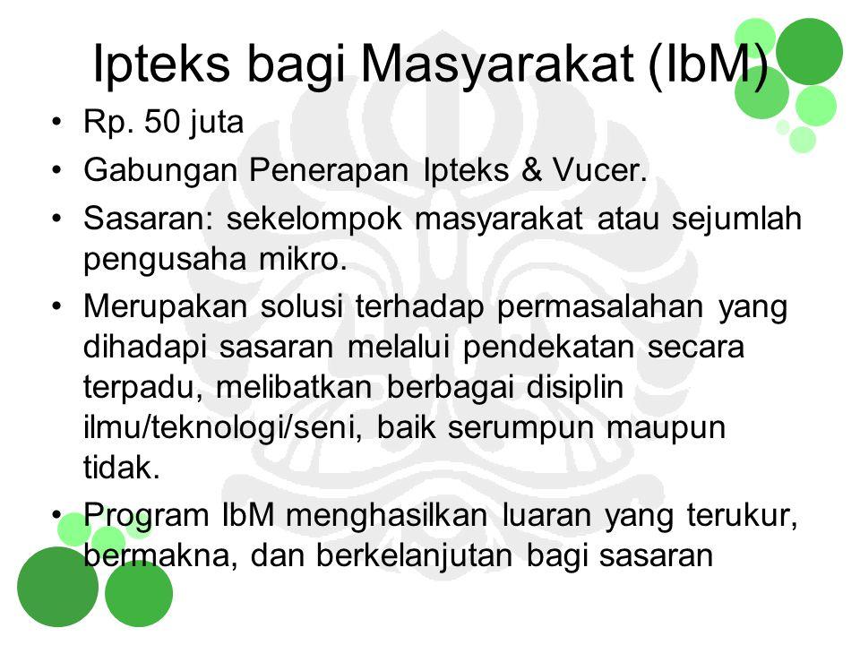 Tujuan & Luaran IbM Tujuan program IbM adalah: –membentuk/mengembangkan sekelompok masyarakat yang mandiri secara ekonomis, –membantu menciptakan ketentraman, kenyamanan dalam kehidupan bermasyarakat, –meningkatkan keterampilan berpikir, membaca dan menulis atau keterampilan lain yang dibutuhkan, Luaran program IbM dapat berupa: –Jasa –Metode –Produk/Barang –Paten yang memberi dampak pada: a) up-dating ipteks di masyarakat b)peningkatan produktivitas mitra c)peningkatan atensi akademisi terhadap kelompok masyarakat/industri kecil, d)peningkatan kegiatan pengembangan ilmu, teknologi dan seni di perguruan tinggi.