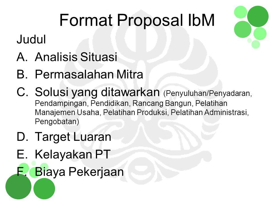 Format Proposal IbM Judul A.Analisis Situasi B.Permasalahan Mitra C.Solusi yang ditawarkan (Penyuluhan/Penyadaran, Pendampingan, Pendidikan, Rancang B