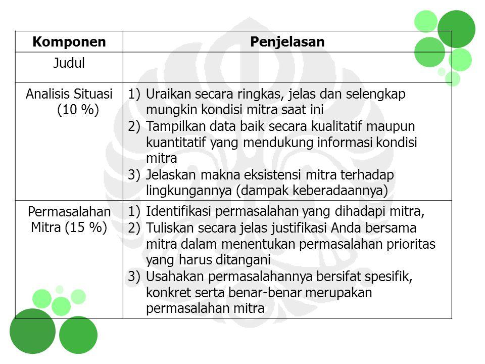 Ipteks bagi Wilayah (IbW) Wilayah kerja: 1 kecamatan, sebaiknya di wilayah di mana PT berada.