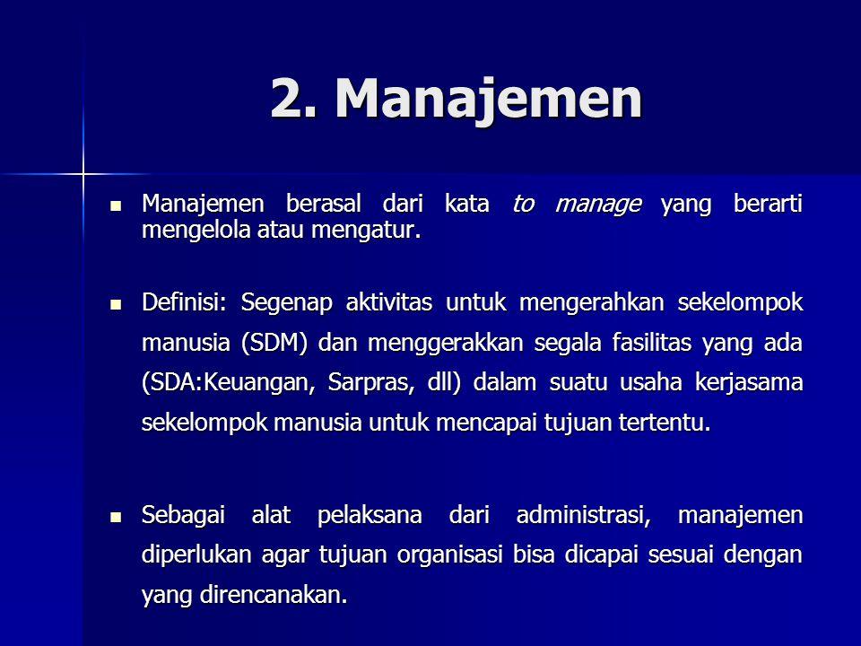 2. Manajemen Manajemen berasal dari kata to manage yang berarti mengelola atau mengatur. Manajemen berasal dari kata to manage yang berarti mengelola
