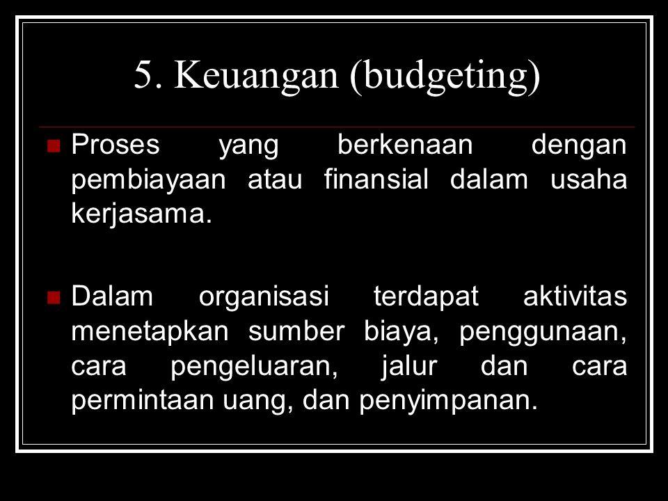 5. Keuangan (budgeting) Proses yang berkenaan dengan pembiayaan atau finansial dalam usaha kerjasama. Dalam organisasi terdapat aktivitas menetapkan s