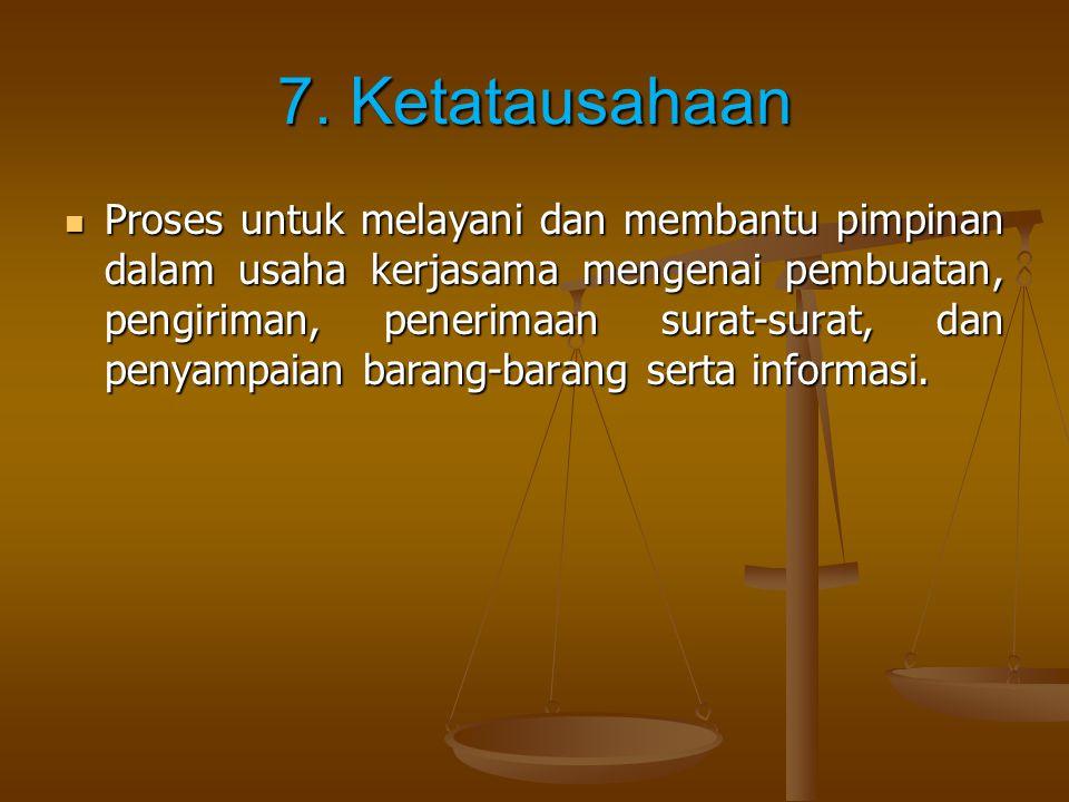 7. Ketatausahaan Proses untuk melayani dan membantu pimpinan dalam usaha kerjasama mengenai pembuatan, pengiriman, penerimaan surat-surat, dan penyamp