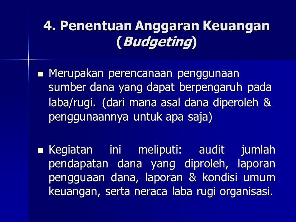 4. Penentuan Anggaran Keuangan (Budgeting) Merupakan perencanaan penggunaan sumber dana yang dapat berpengaruh pada laba/rugi. (dari mana asal dana di
