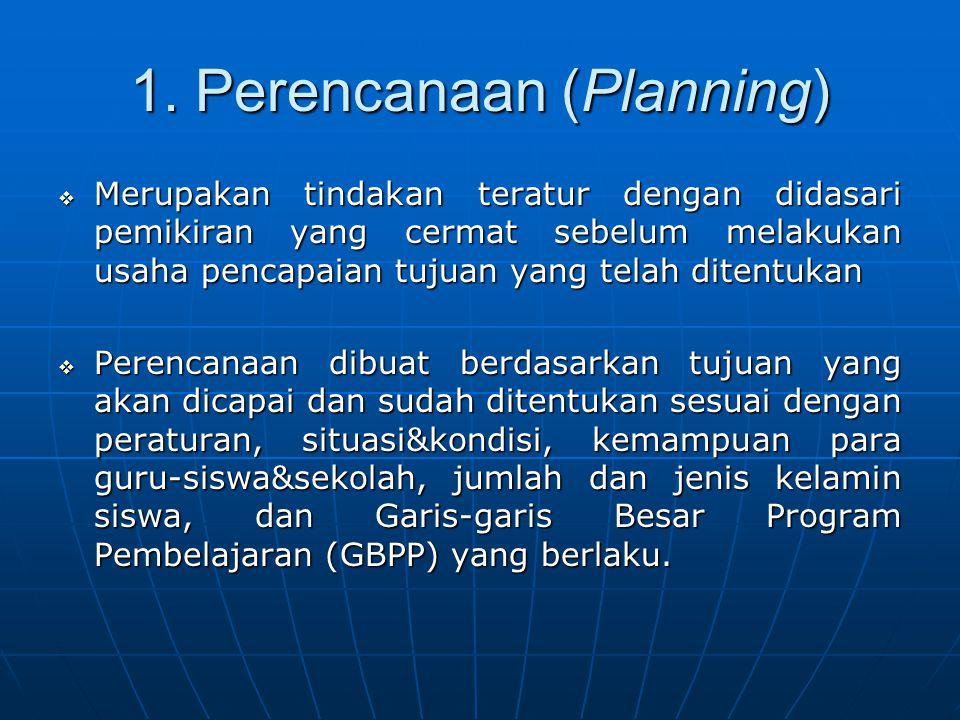 1. Perencanaan (Planning)  Merupakan tindakan teratur dengan didasari pemikiran yang cermat sebelum melakukan usaha pencapaian tujuan yang telah dite