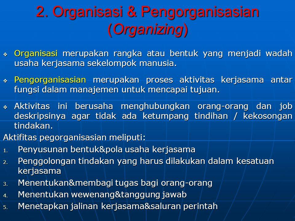 2. Organisasi & Pengorganisasian (Organizing)  Organisasi merupakan rangka atau bentuk yang menjadi wadah usaha kerjasama sekelompok manusia.  Pengo