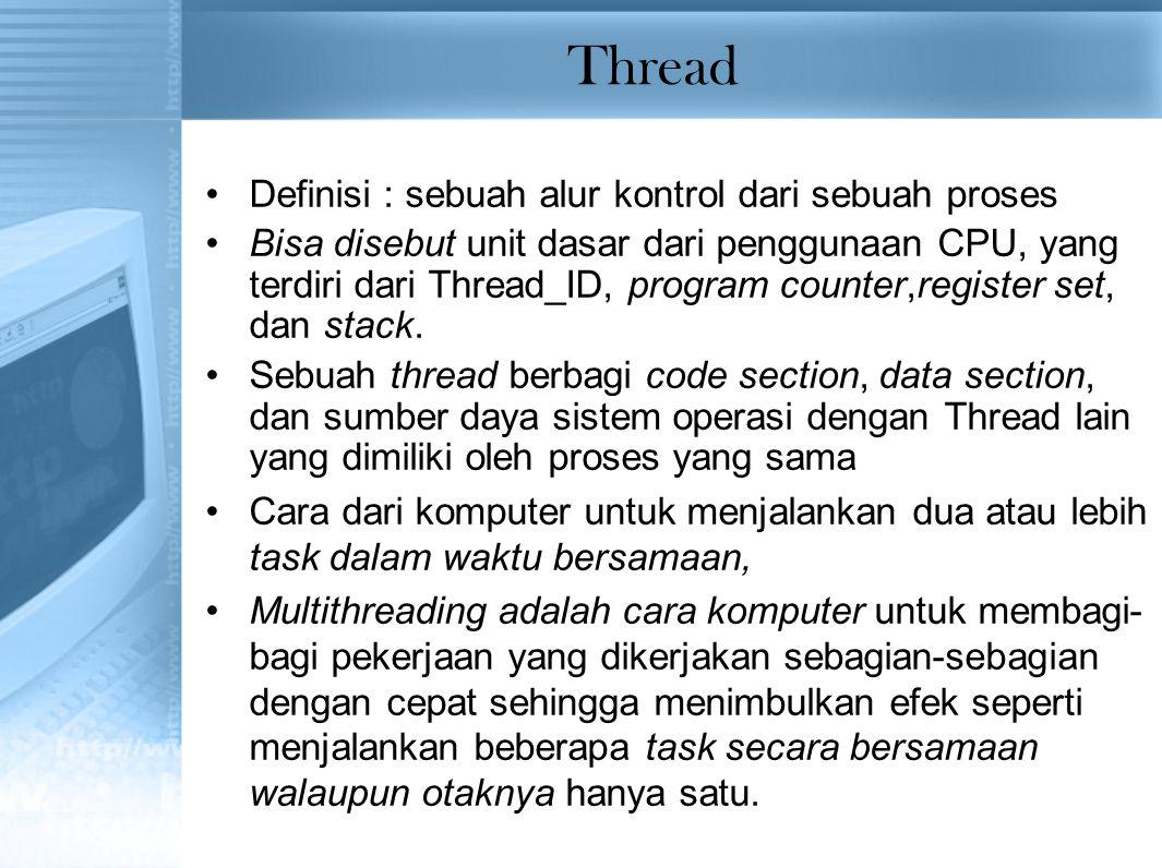 Thread Definisi : sebuah alur kontrol dari sebuah proses Bisa disebut unit dasar dari penggunaan CPU, yang terdiri dari Thread_ID, program counter,register set, dan stack.