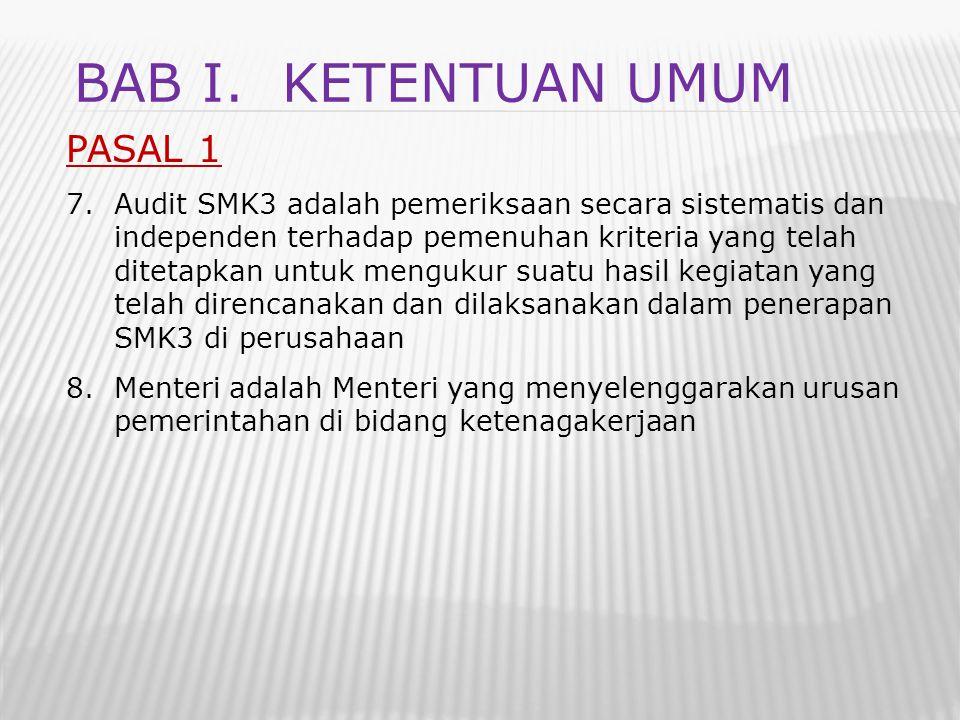 PASAL 1 7.Audit SMK3 adalah pemeriksaan secara sistematis dan independen terhadap pemenuhan kriteria yang telah ditetapkan untuk mengukur suatu hasil