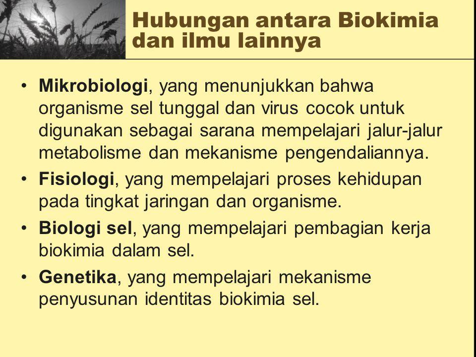 Hubungan antara Biokimia dan ilmu lainnya  Kimia Organik yang mempelajari sifat-sifat biomolekul.  Biofisika, yang memanfaatkan teknik-teknik fisika
