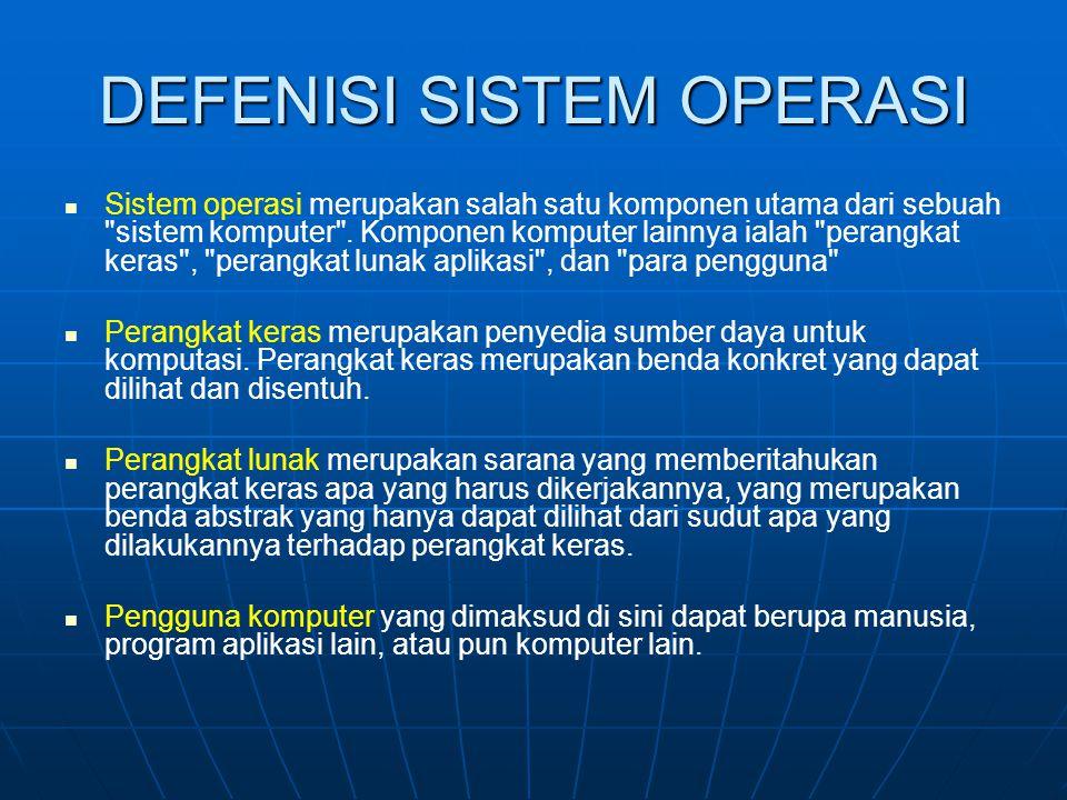 DEFENISI SISTEM OPERASI Sistem operasi merupakan salah satu komponen utama dari sebuah