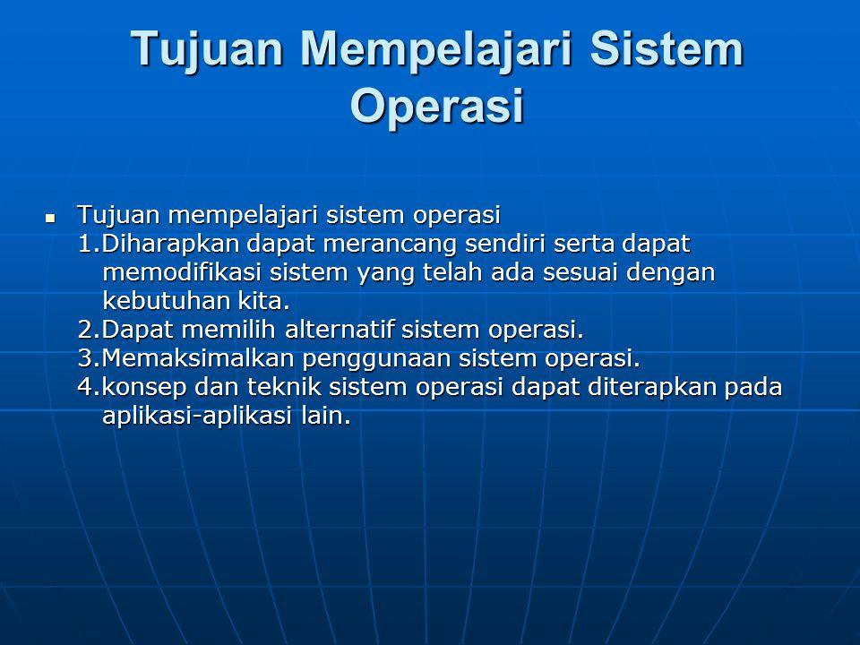 Tujuan Mempelajari Sistem Operasi Tujuan mempelajari sistem operasi Tujuan mempelajari sistem operasi 1.Diharapkan dapat merancang sendiri serta dapat