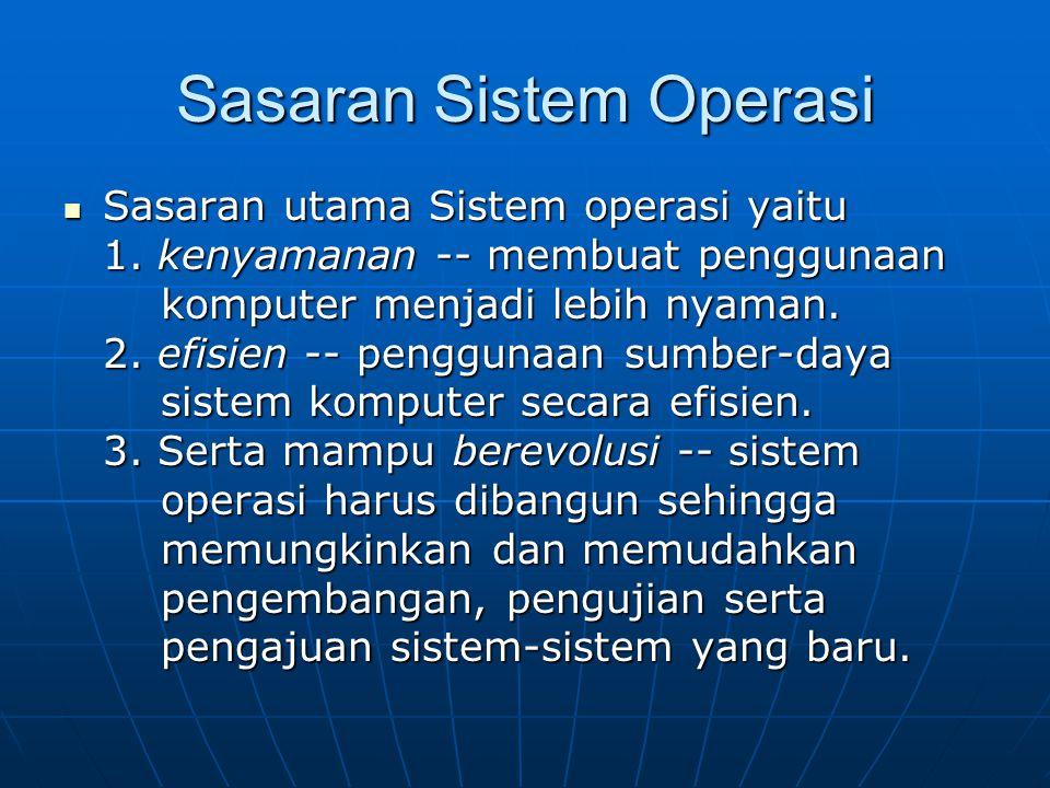 Sasaran Sistem Operasi Sasaran utama Sistem operasi yaitu Sasaran utama Sistem operasi yaitu 1. kenyamanan -- membuat penggunaan komputer menjadi lebi