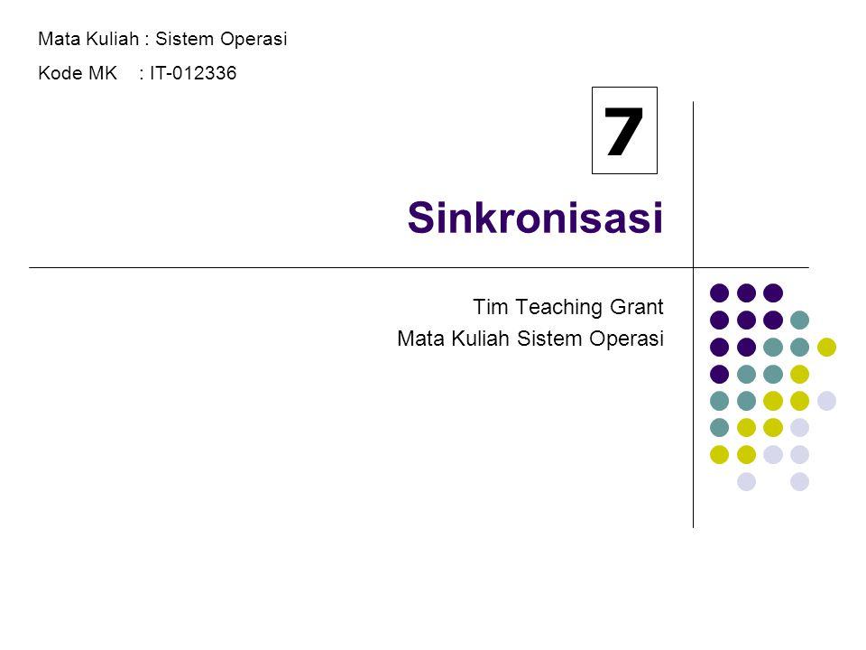 Sinkronisasi Tim Teaching Grant Mata Kuliah Sistem Operasi Mata Kuliah : Sistem Operasi Kode MK : IT-012336 7