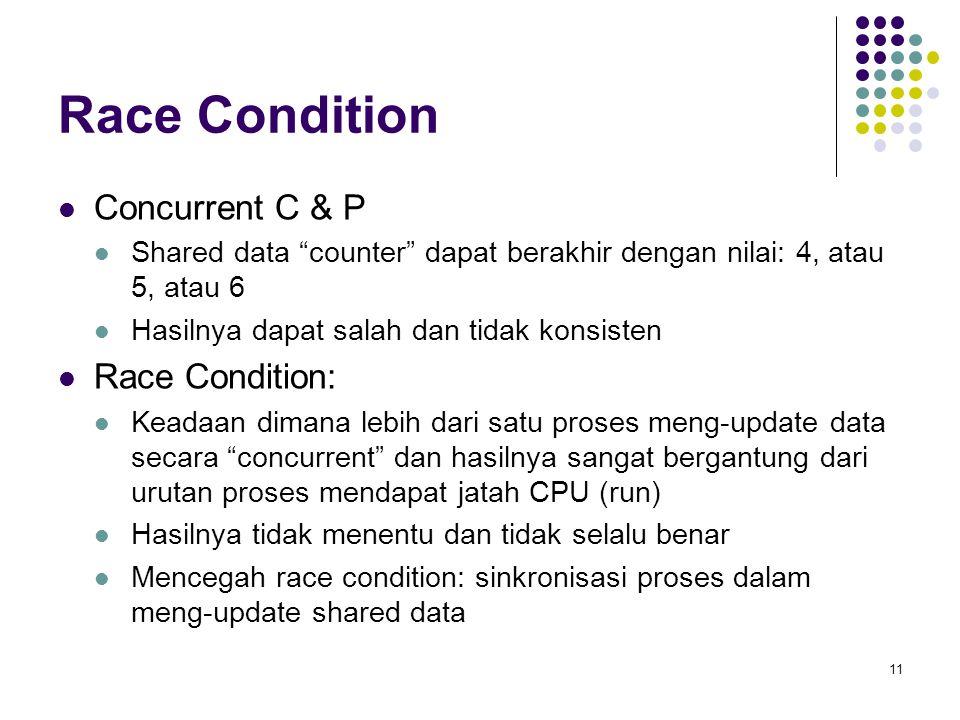 """11 Race Condition Concurrent C & P Shared data """"counter"""" dapat berakhir dengan nilai: 4, atau 5, atau 6 Hasilnya dapat salah dan tidak konsisten Race"""