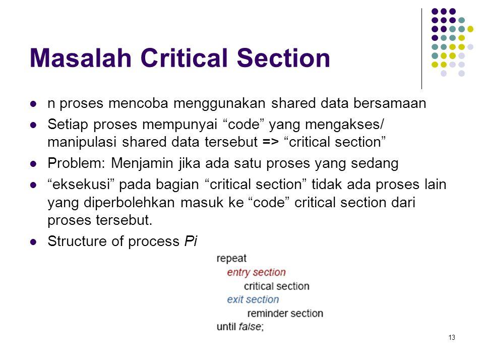 "13 Masalah Critical Section n proses mencoba menggunakan shared data bersamaan Setiap proses mempunyai ""code"" yang mengakses/ manipulasi shared data t"