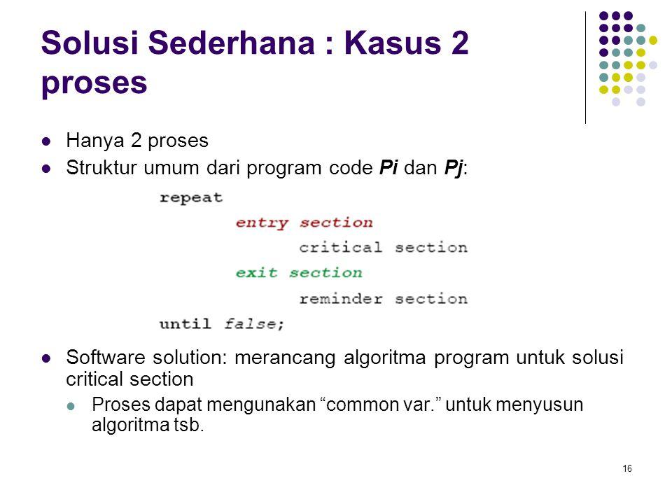 16 Solusi Sederhana : Kasus 2 proses Hanya 2 proses Struktur umum dari program code Pi dan Pj: Software solution: merancang algoritma program untuk so