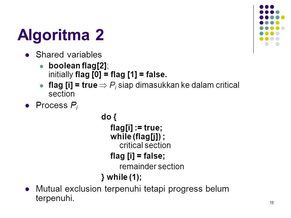 18 Algoritma 2 Shared variables boolean flag[2]; initially flag [0] = flag [1] = false. flag [i] = true  P i siap dimasukkan ke dalam critical sectio