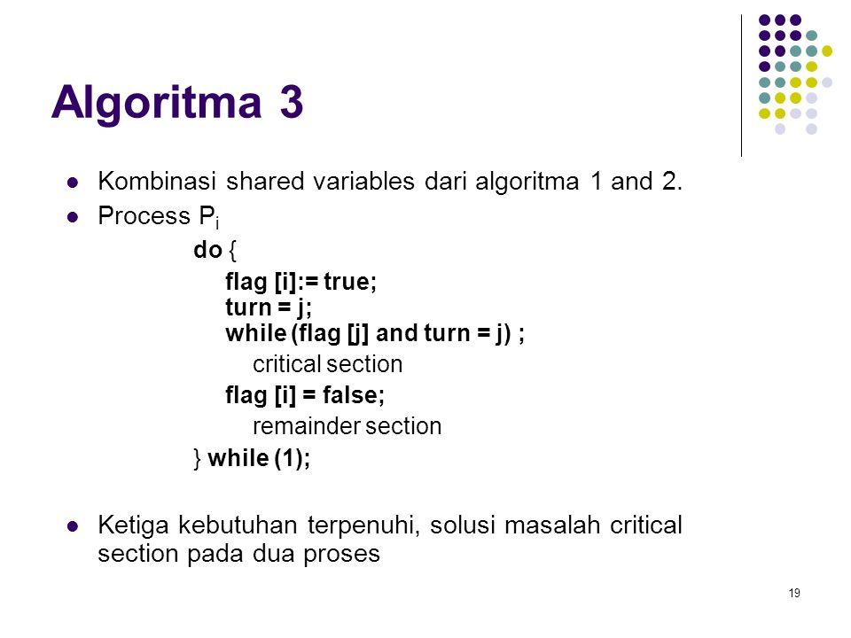 19 Algoritma 3 Kombinasi shared variables dari algoritma 1 and 2. Process P i do { flag [i]:= true; turn = j; while (flag [j] and turn = j) ; critical