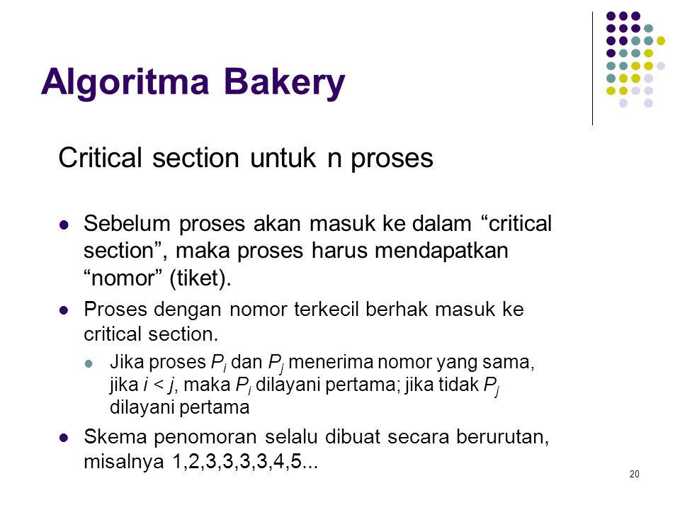 "20 Algoritma Bakery Critical section untuk n proses Sebelum proses akan masuk ke dalam ""critical section"", maka proses harus mendapatkan ""nomor"" (tike"