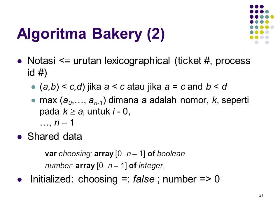 21 Algoritma Bakery (2) Notasi <  urutan lexicographical (ticket #, process id #) (a,b) < c,d) jika a < c atau jika a = c and b < d max (a 0,…, a n-1