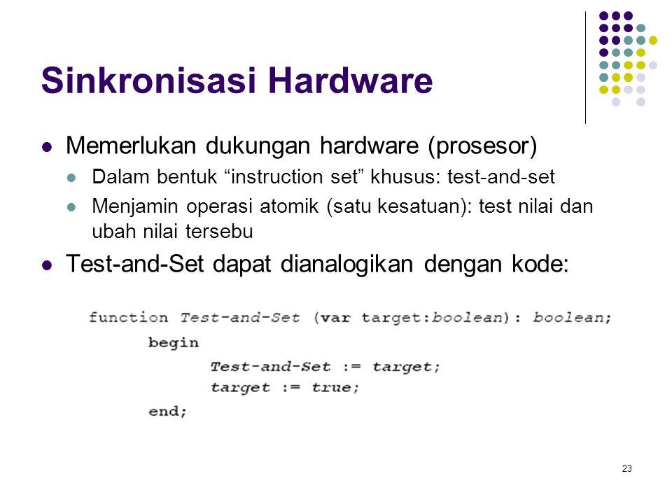 """23 Sinkronisasi Hardware Memerlukan dukungan hardware (prosesor) Dalam bentuk """"instruction set"""" khusus: test-and-set Menjamin operasi atomik (satu kes"""