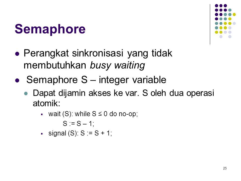25 Semaphore Perangkat sinkronisasi yang tidak membutuhkan busy waiting Semaphore S – integer variable Dapat dijamin akses ke var. S oleh dua operasi