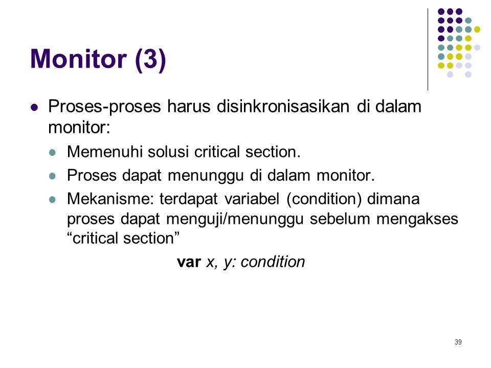 39 Monitor (3) Proses-proses harus disinkronisasikan di dalam monitor: Memenuhi solusi critical section. Proses dapat menunggu di dalam monitor. Mekan