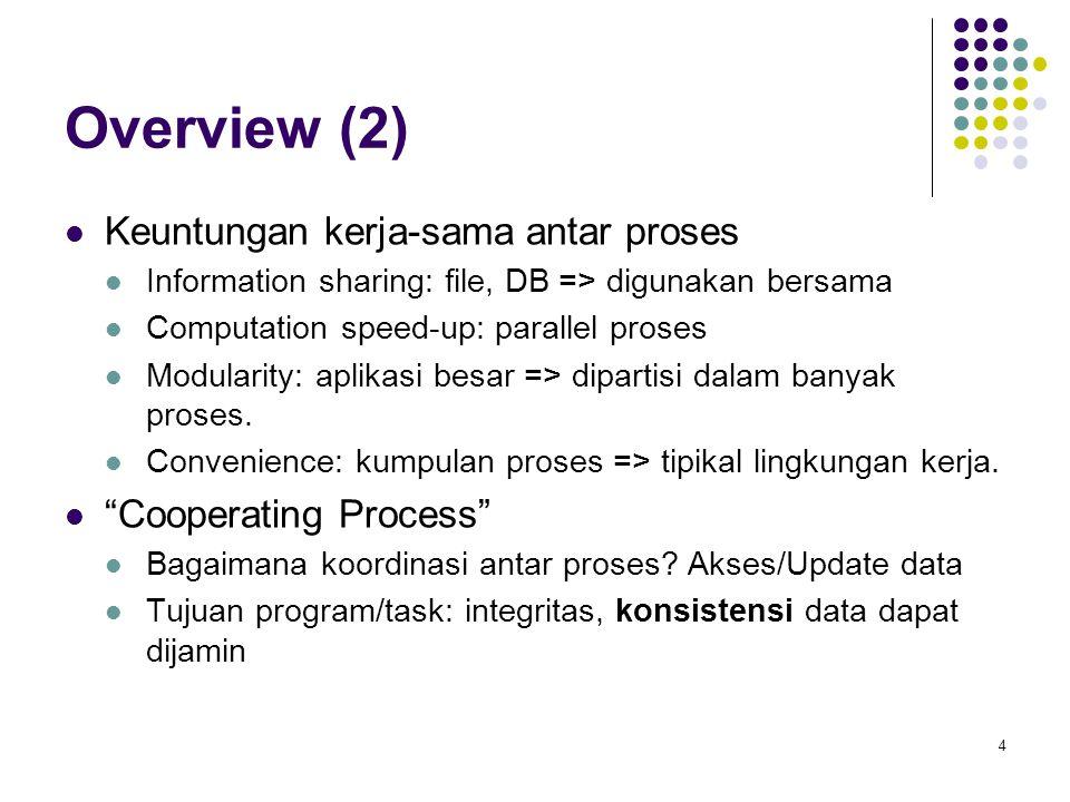 4 Overview (2) Keuntungan kerja-sama antar proses Information sharing: file, DB => digunakan bersama Computation speed-up: parallel proses Modularity: