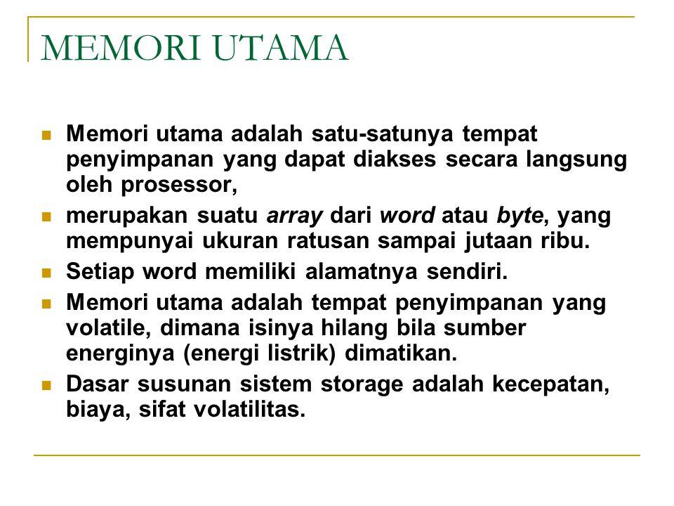 MEMORI UTAMA Memori utama adalah satu-satunya tempat penyimpanan yang dapat diakses secara langsung oleh prosessor, merupakan suatu array dari word at