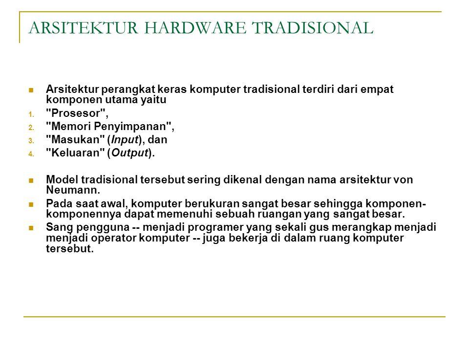 ARSITEKTUR HARDWARE TRADISIONAL Arsitektur perangkat keras komputer tradisional terdiri dari empat komponen utama yaitu 1.