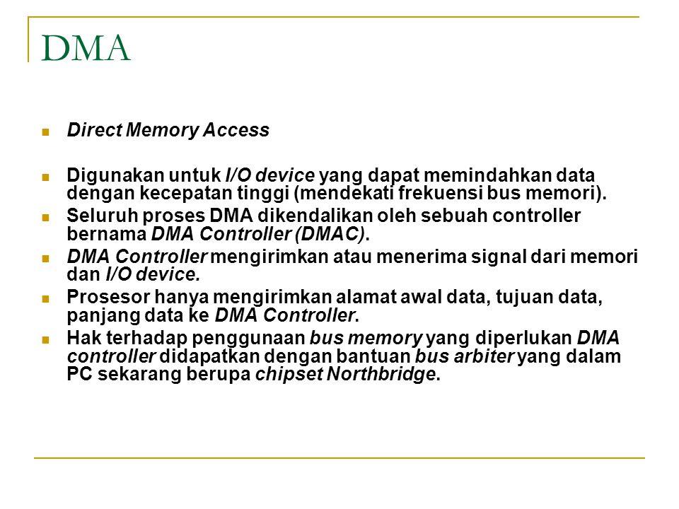 DMA Direct Memory Access Digunakan untuk I/O device yang dapat memindahkan data dengan kecepatan tinggi (mendekati frekuensi bus memori). Seluruh pros
