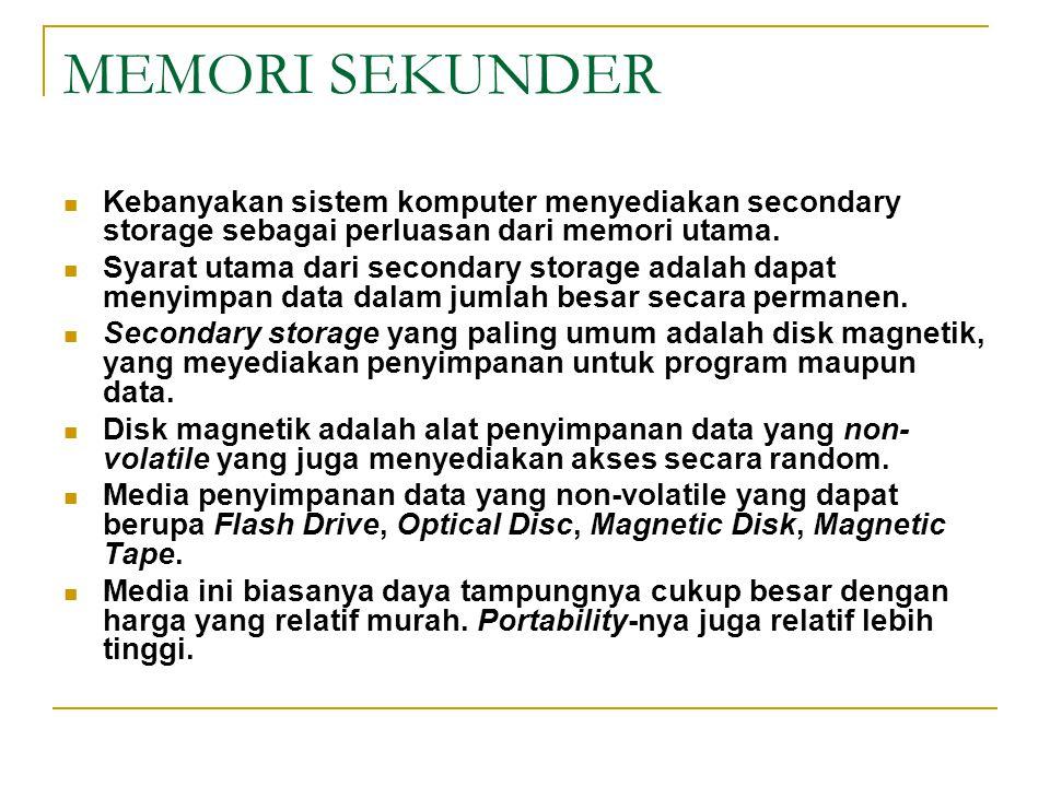 MEMORI SEKUNDER Kebanyakan sistem komputer menyediakan secondary storage sebagai perluasan dari memori utama. Syarat utama dari secondary storage adal