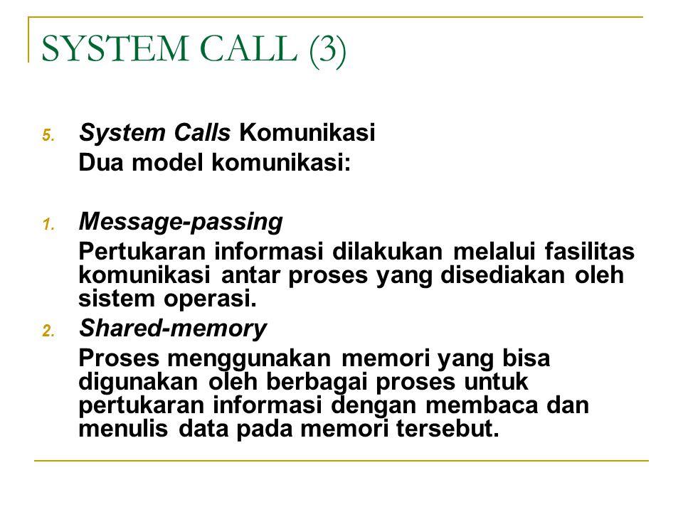 SYSTEM CALL (3) 5. System Calls Komunikasi Dua model komunikasi: 1. Message-passing Pertukaran informasi dilakukan melalui fasilitas komunikasi antar