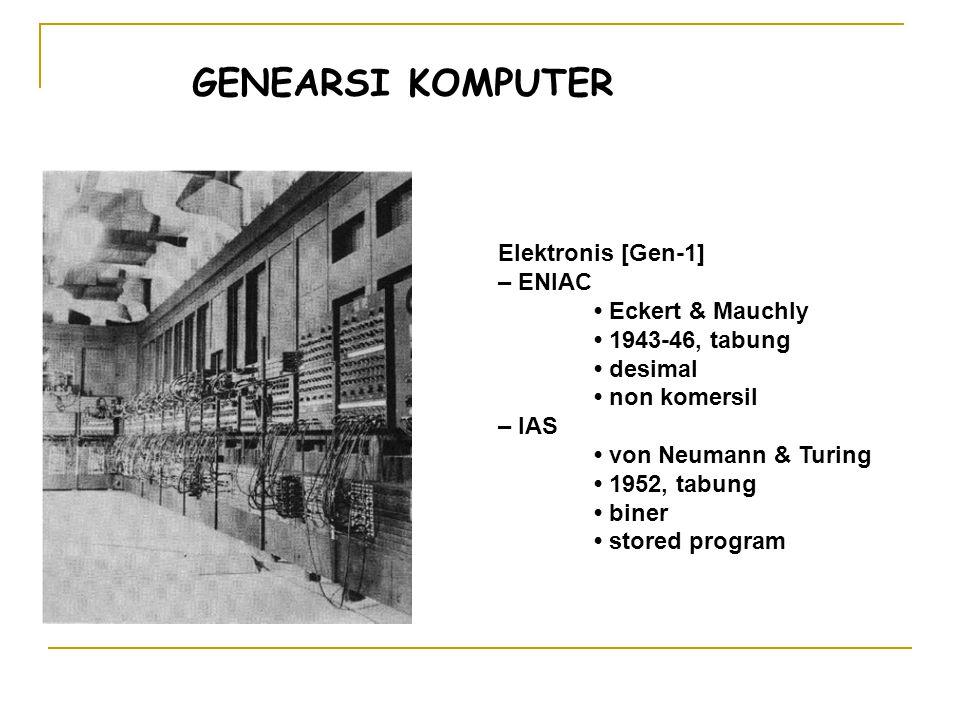 Elektronis [Gen-1] – ENIAC Eckert & Mauchly 1943-46, tabung desimal non komersil – IAS von Neumann & Turing 1952, tabung biner stored program GENEARSI