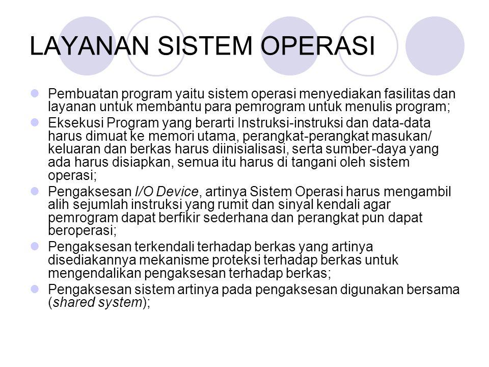 LAYANAN SISTEM OPERASI Pembuatan program yaitu sistem operasi menyediakan fasilitas dan layanan untuk membantu para pemrogram untuk menulis program; E
