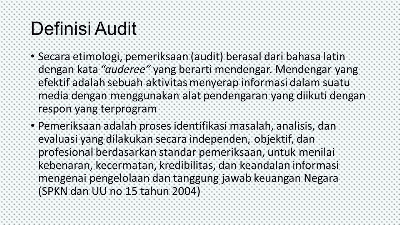 """Definisi Audit Secara etimologi, pemeriksaan (audit) berasal dari bahasa latin dengan kata """"auderee"""" yang berarti mendengar. Mendengar yang efektif ad"""