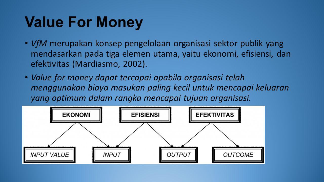 Value For Money VfM merupakan konsep pengelolaan organisasi sektor publik yang mendasarkan pada tiga elemen utama, yaitu ekonomi, efisiensi, dan efektivitas (Mardiasmo, 2002).