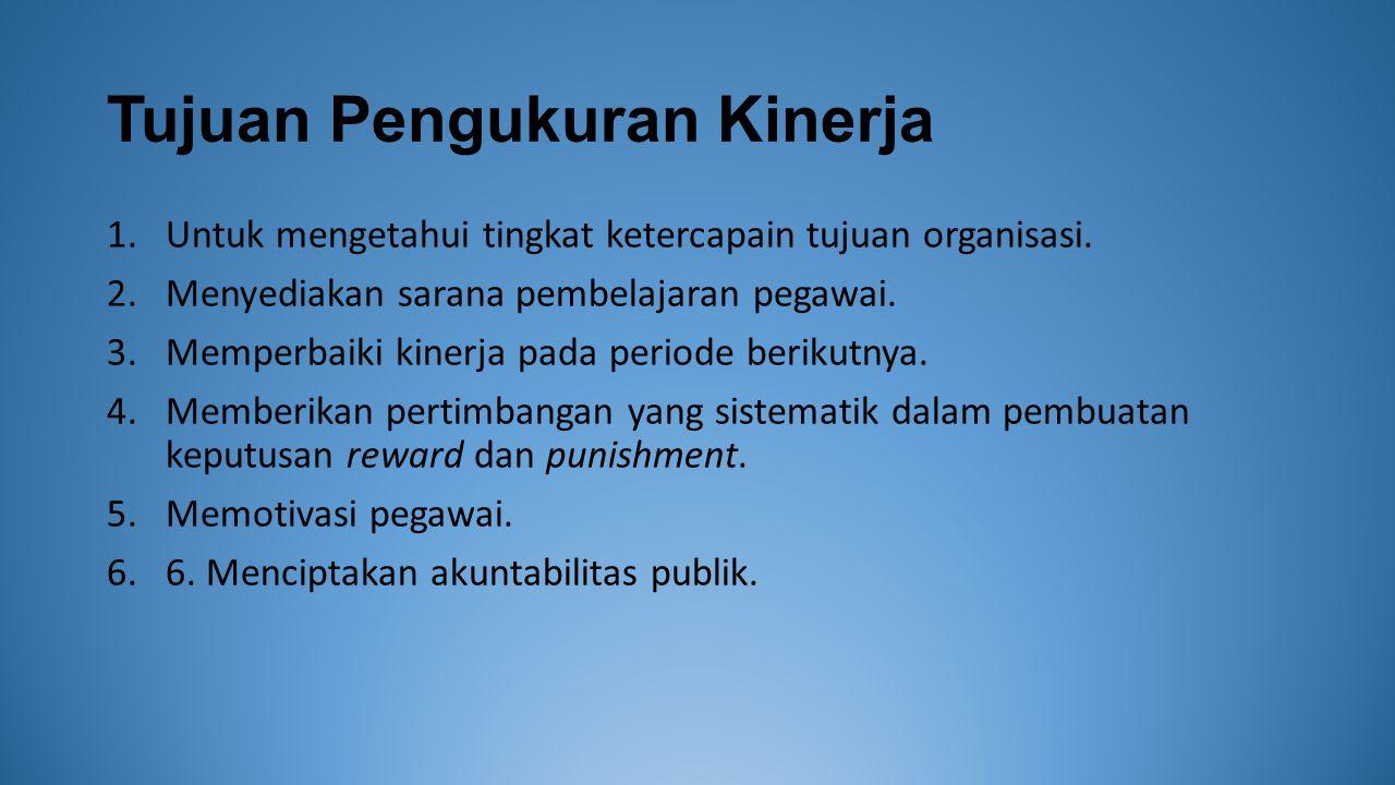 Tujuan Pengukuran Kinerja 1.Untuk mengetahui tingkat ketercapain tujuan organisasi.