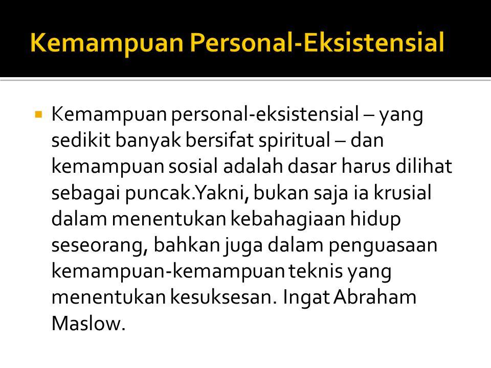  Kemampuan personal-eksistensial – yang sedikit banyak bersifat spiritual – dan kemampuan sosial adalah dasar harus dilihat sebagai puncak.Yakni, buk