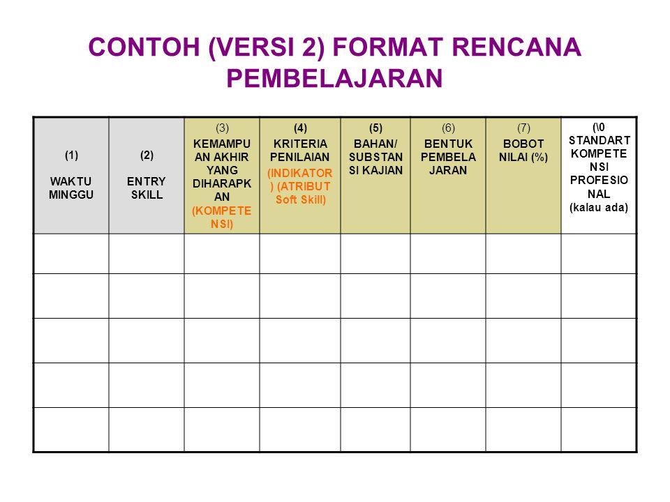 CONTOH (VERSI 2) FORMAT RENCANA PEMBELAJARAN (1) WAKTU MINGGU (2) ENTRY SKILL (3) KEMAMPU AN AKHIR YANG DIHARAPK AN (KOMPETE NSI) (4) KRITERIA PENILAI