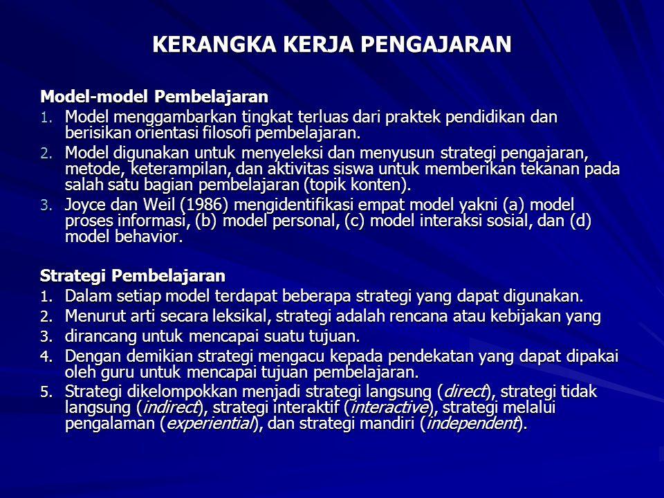Model-model Pembelajaran 1. Model menggambarkan tingkat terluas dari praktek pendidikan dan berisikan orientasi filosofi pembelajaran. 2. Model diguna