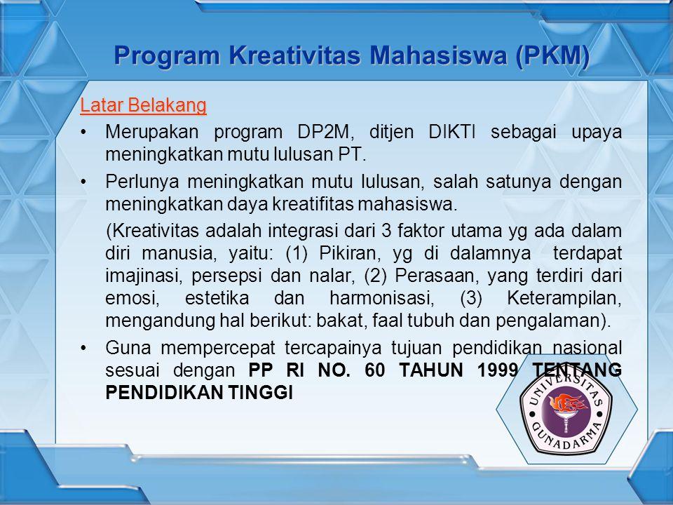 Program Kreativitas Mahasiswa (PKM) Latar Belakang Merupakan program DP2M, ditjen DIKTI sebagai upaya meningkatkan mutu lulusan PT.