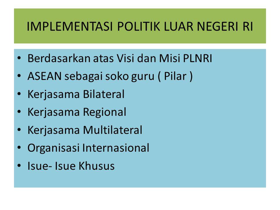 IMPLEMENTASI POLITIK LUAR NEGERI RI Berdasarkan atas Visi dan Misi PLNRI ASEAN sebagai soko guru ( Pilar ) Kerjasama Bilateral Kerjasama Regional Kerjasama Multilateral Organisasi Internasional Isue- Isue Khusus