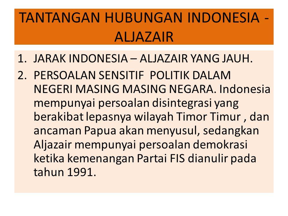 TANTANGAN HUBUNGAN INDONESIA - ALJAZAIR 1.JARAK INDONESIA – ALJAZAIR YANG JAUH.