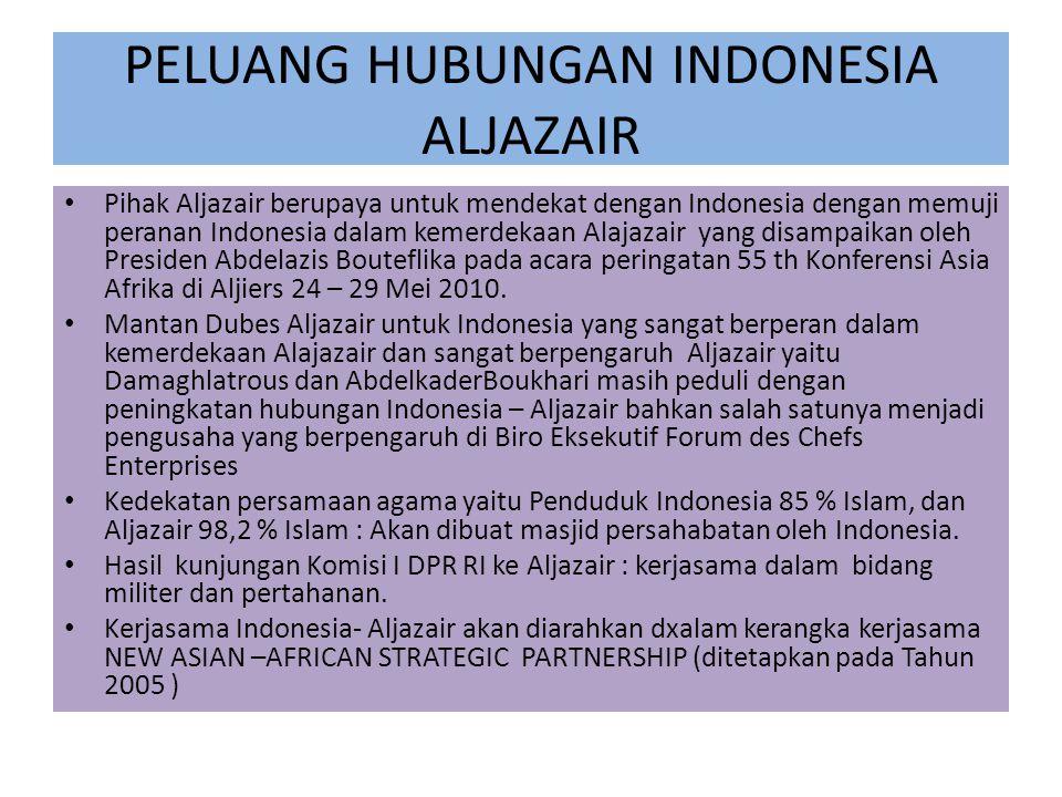 PELUANG HUBUNGAN INDONESIA ALJAZAIR Pihak Aljazair berupaya untuk mendekat dengan Indonesia dengan memuji peranan Indonesia dalam kemerdekaan Alajazair yang disampaikan oleh Presiden Abdelazis Bouteflika pada acara peringatan 55 th Konferensi Asia Afrika di Aljiers 24 – 29 Mei 2010.