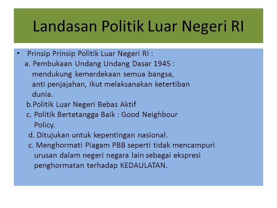 Landasan Politik Luar Negeri RI Prinsip Prinsip Politik Luar Negeri RI : a.